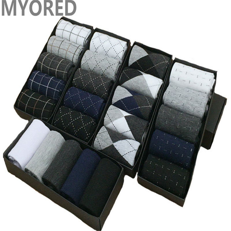 MYORED Business-Socks Short Socken Diamond-Line Formal-Dress Combed Cotton Solid-Color