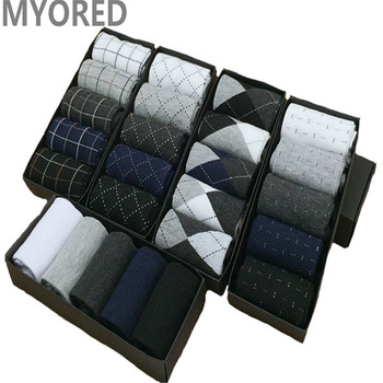 MYORED Summer Combed Cotton Breathable Short Business Socks Men Dot Diamond Line Solid Color Socken Formal Dress NO Box 5pair