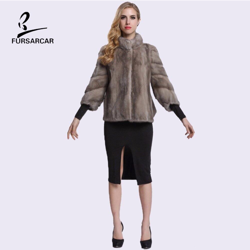 FURSARCAR Wanita Mink Fur Coat Tiga Perempat Lengan Penuh Pelt Nyata - Pakaian Wanita - Foto 4