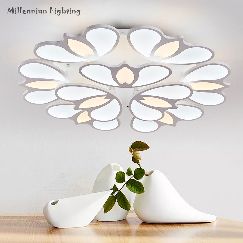 LED Living room ceiling lighting Acrylic bedroom Dimming ceiling lamp Modern indoor home fixtures Remote control restaurant lamp