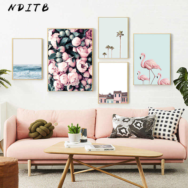 Scandinavian Flower Flamingo Canvas Poster Landscape Wall Art Print Painting Nordic Style Decoration Picture Living Room Decor