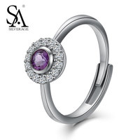 SA SILVERAGE 925 Silver Ring For Women Purple Stone Sterling S925 Fine Jewelry Engagement Wedding Rings