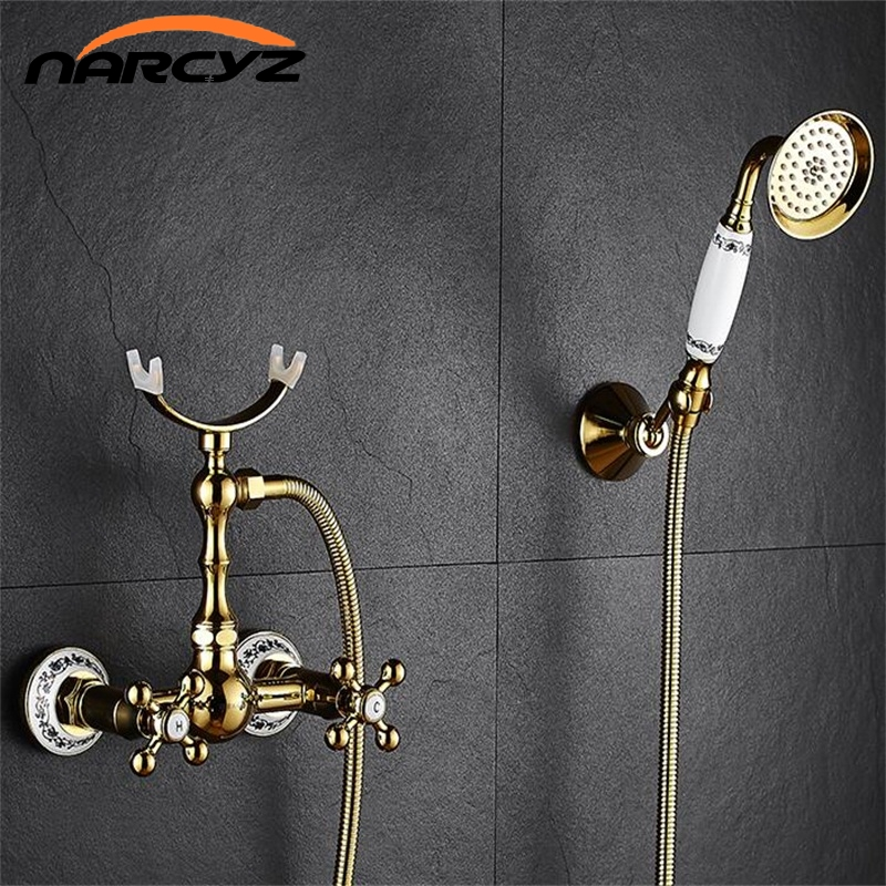 Shower Faucet Brass Polished Golden Bathtub Faucets Hand Rain Shower Head Tap Luxury Ceramic Telephone Wall