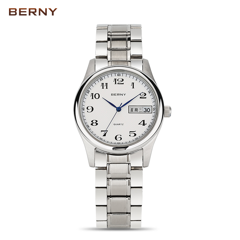BERNY 2017 Brand Luxury Stainless Steel Watch Men Business Casual Quartz Watches Male Date Wristwatch Sport Waterproof 2624M 2017 men watches brand hour date week clock male stainless steel luxury quartz watch men casual sport wristwatch