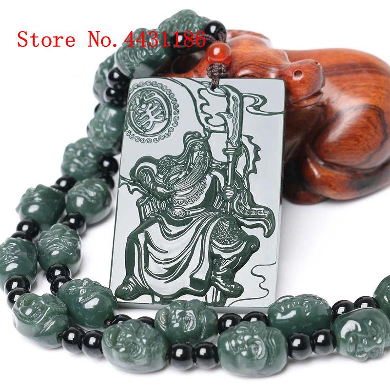 Doelbewust Natuurlijke Superieure Kwaliteit Tian Guan Yu Jade Merk Mannen Hanger Lohan Hoofd Ketting Amulet Lucky Stone Beste Cadeau Bright Luster