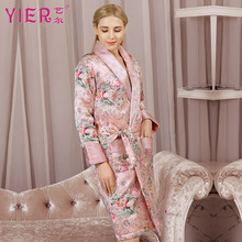 Silk Robe Fashion Women 100% Thicken Long-Sleeve Kimono Sleepwear Thickened Female Homewear