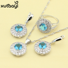 Superb Created Blue Topaz White Topaz,925 Silver Bridal Wedding Fashion Health Jewelry Set Earrings Necklace Pendant Rings