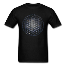 2019 Brand T-shirt Men Mandala T Shirts Flower Of Life Sacred Geometry Tops Tees Cotton Graphic Tshirt Star Cluster Chic Clothes flower cluster print slub t shirt