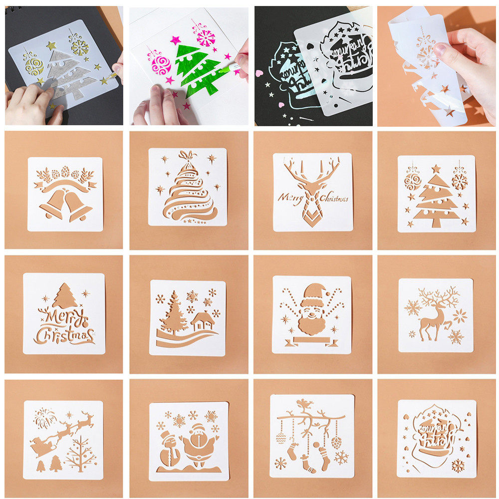 Merry Christmas Theme Layering Stencil For Walls Painting Scrapbooking  Stamp Album Decor Xmas Tree Embossing Paper Card Template