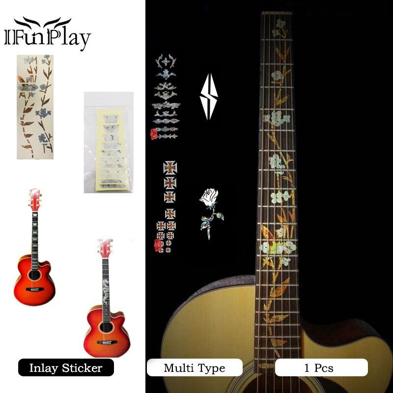 diy flower dragon cross pattern acoustic guitar bass electric guitar inlay sticker fret. Black Bedroom Furniture Sets. Home Design Ideas