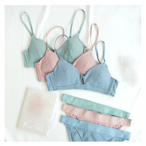 Image 2 - Cotton bra set comfortable underwear wireless ladies hollow out sexy bra and panty set stripe pure color lingerie fashion pantie