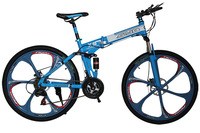 2015 Newest Bike Mountain 26 17 21 Speeds 6 Spokes Folding Mountain Bicycle One Wheel Damping