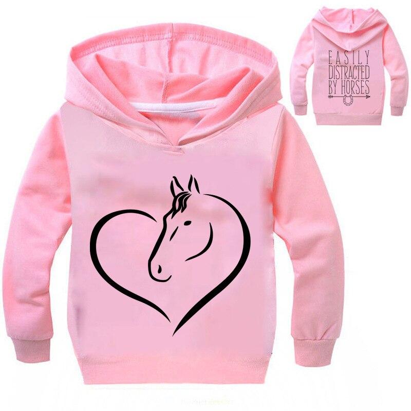 Boys Girls Casual Hoodie Sweatshirts Horse T Shirt Kids Long Sleeve Top Tee Enfant Shirt For Children Clothing Coat