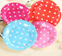 10pc Lot 7 9 Dia Round Colored Disposable Paper Plates Children S Cartoon Birthday Cake Plate