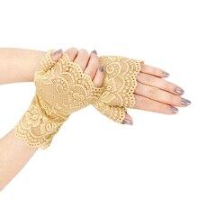 Новинка, женские летние короткие кружевные перчатки с защитой от солнца и УФ-лучей, женские перчатки для вождения на полпальца, официальные перчатки, черные, белые, хаки, красные