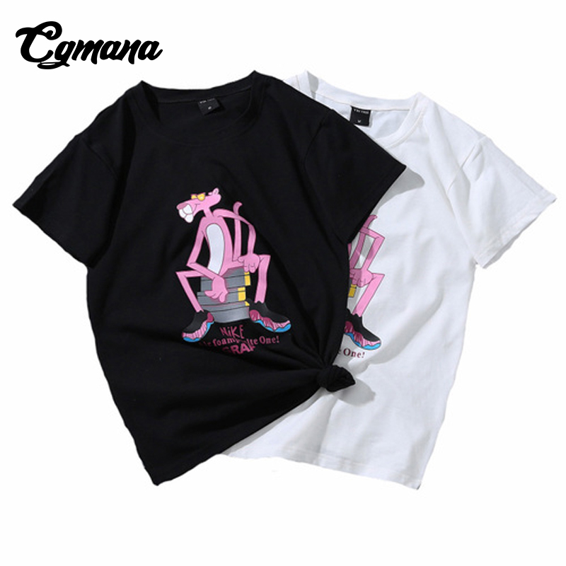 CGmana T shirt Wome 2018 Cartoon Pink Panther Printed T shirt Funny T-shirt Summer Women Loose O-Neck T-shirt Casual Top Tee Hot