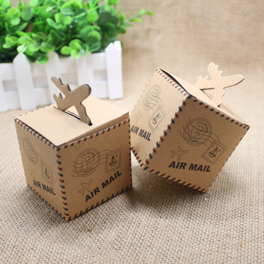 50pcslot Casamento Vintage Airplane Boxes Wedding Decoration