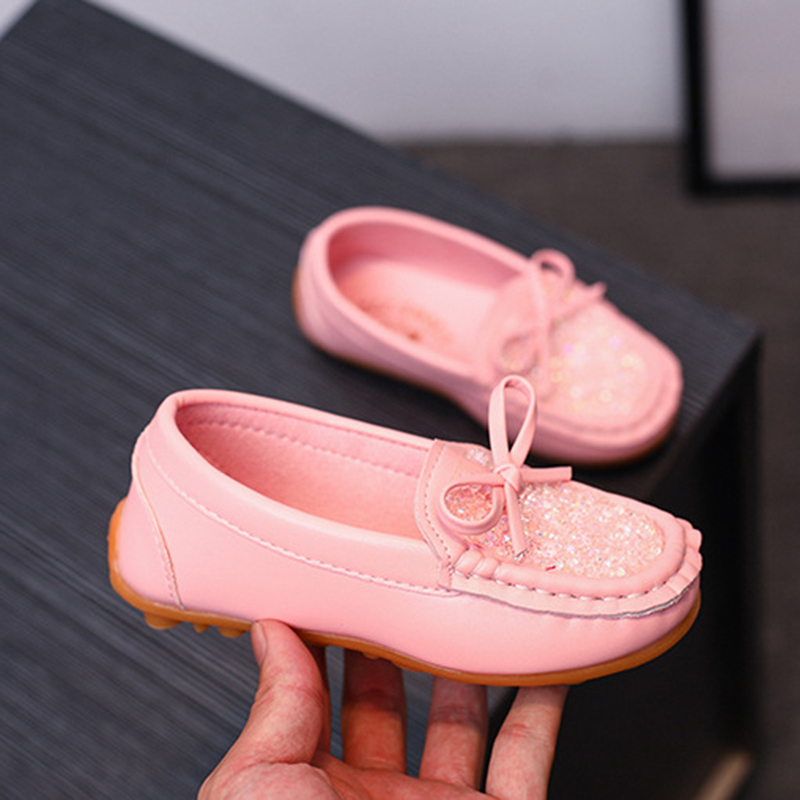 JUFOYU 2018 Childrens Peas Shoes Girls New Korean Version Of The Bow-Tie Shoes Large Children Fashion Breathable Shoes