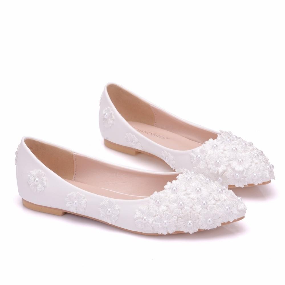 Femmes Mariée Reine Partie Blanche Appartements Dentelle Talons Plus Ballerines Pointu Plat Dames La Chaussures Bout Cristal White Taille De Mariage PqwRn7qdA