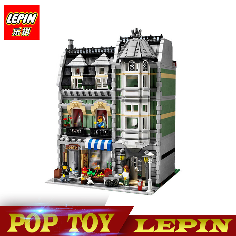 Lepin 15008 2462Pcs City Street Green Grocer Model Building Kits Blocks Bricks Compatible Educational legoed city 10185 toys in stock 2462pcs free shipping lepin 15008 city street green grocer model building kits blocks bricks compatible 10185