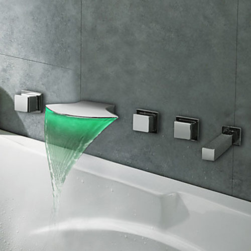 5pcs Chrome Finish Brass LED Waterfall Wall Mounted Bathtub Faucet Mixer Tap Set