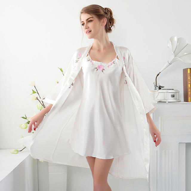 women short silk robe sexy and gowns two piece sleep gown lingerie dresses for women white pink blue 3 color robes for women