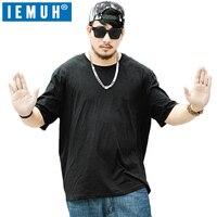 IEMUH Plus Rozmiar Czarny T-Shirt Mężczyźni T Shirt Koszulki Z Krótkim Rękawem solidna Bawełna Koszulkę Homme 4XL Hot Sprzedaż Wiosna Lato Ubrania