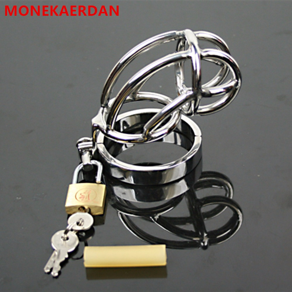 Stainless Steel Cock Cage Penis Rings , Metal Chastity Device In Sex Games , Fetish Adult Products Sex Toys For Men -AW081