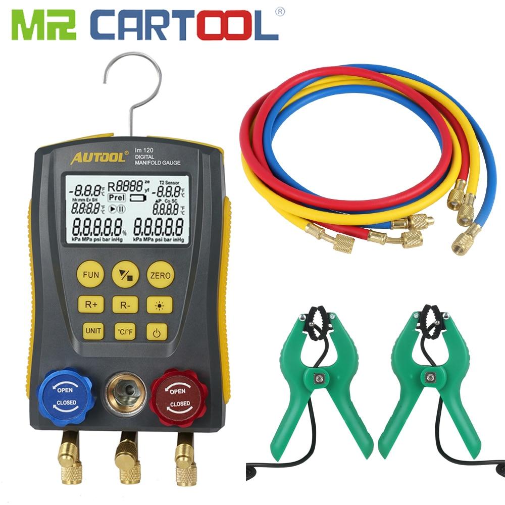 Mr Cartool HVAC Vacuum Pressure Temperature Tester Leakage Test Refrigeration Tools Digital Manifold Gauge Meter Clamp Clip Tube