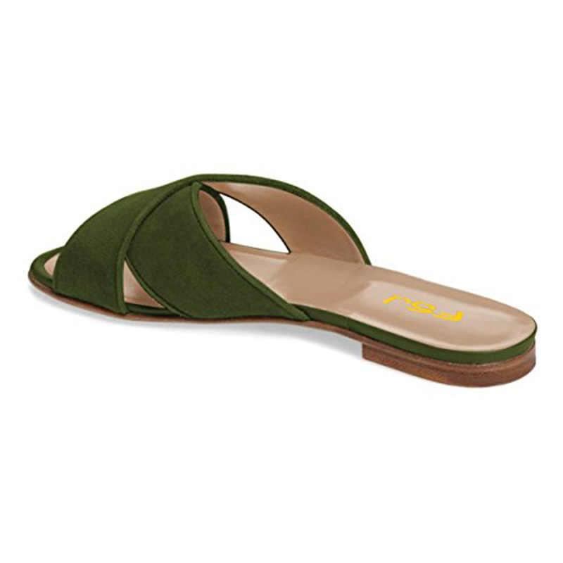 b1fd58a4286 FSJ Women Casual Slide Flats Sandals Low Heel Cut Out Open Toe Mules Faux  Suede Shoes Size 4-15 US