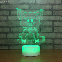 Movie Moana Pet Pig Pua Cute Cartoon 3D LED Night Light Anime 7 Color Changing Touch Talbe Lamp Kids Toy Gift