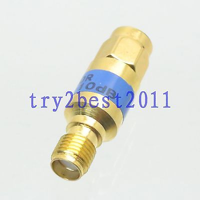 Attenuator SMA plug to Jack pin 2W 10dB DC-6.0GHZ RF coaxial Power Gold 50. 2w sma rf blocking filter dc block connector dc 8g