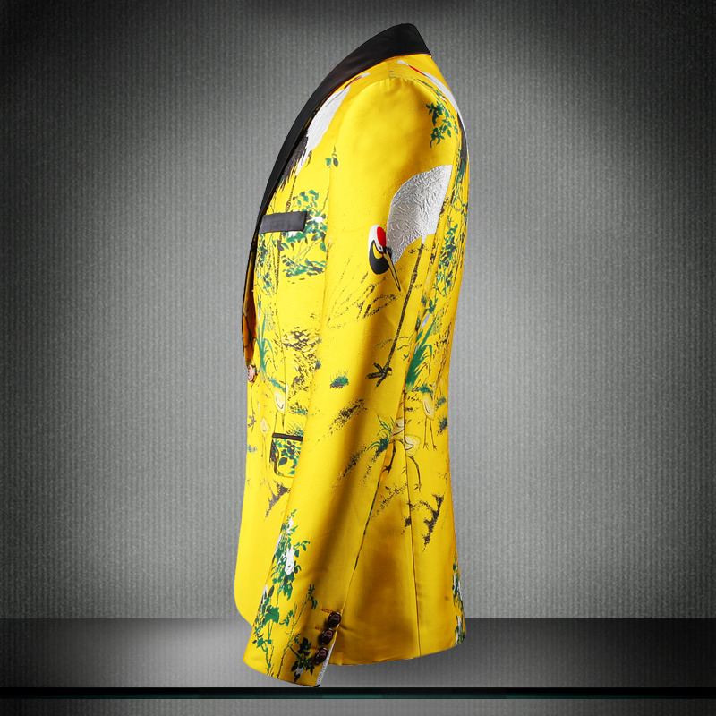 Желтый пиджак, роскошный мужской блейзер с принтом, приталенный, Цветочный, для мужчин, одежда для сцены, Блейзер, стильный, вечерние, для сва... - 3