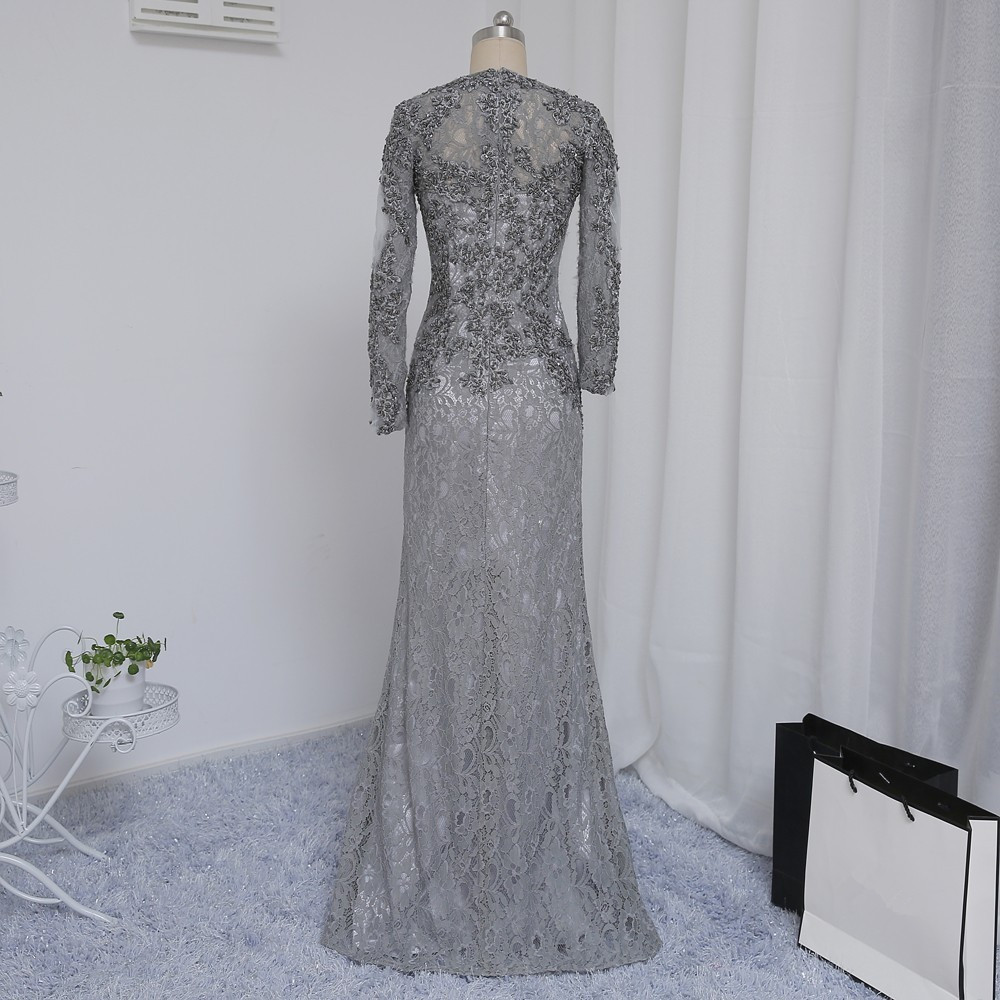 Plius dydis Pilka 2019 Mergelės suknelė Mermaid V-kaklo ilgomis - Suknelės vestuvėms - Nuotrauka 2