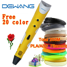 200Metetrs 1.75mm ABS/PLA DIY Smart 3d drawing printer pen Maker Creative Gift For Kids Drawing Painting