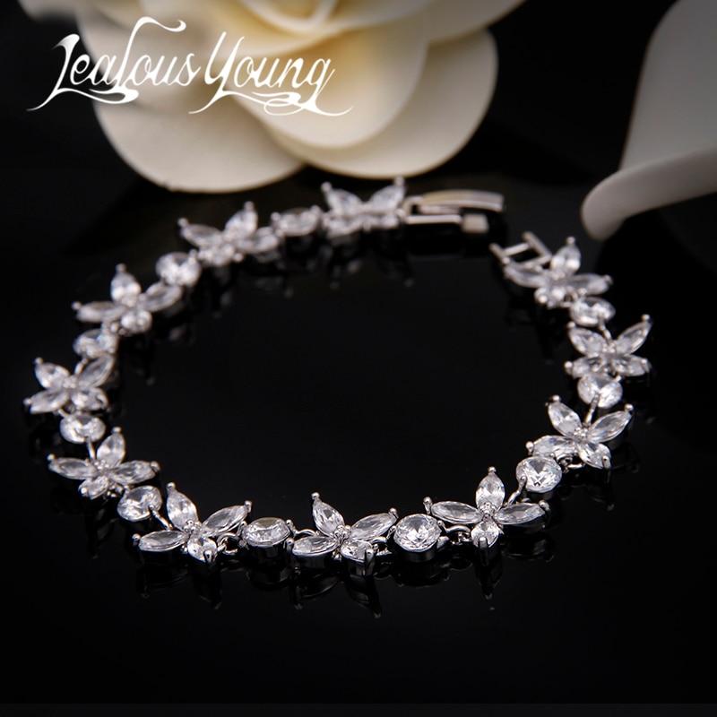 2017 פרח קלאסי קסם עיצוב צמיד Femme למעלה איכות צמידי זירקון לנשים כלה Bracelete Pulseras Mujer AB001