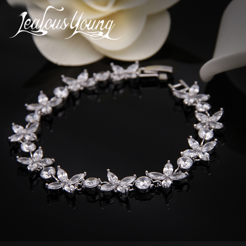2017 Classic Flower Design Charm Bracelet Femme Pulseras de circón de calidad superior para mujeres Bracelete nupcial Pulseras Mujer AB001