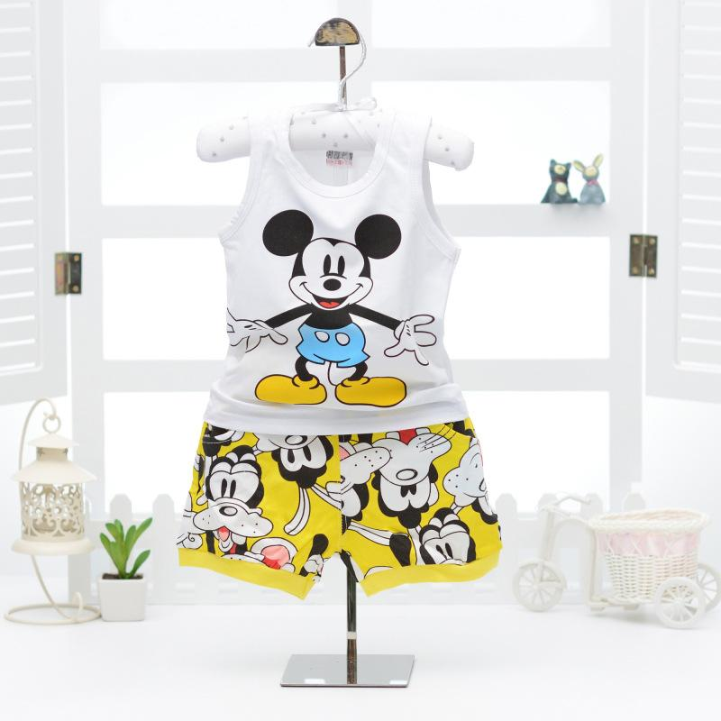 2017 New Character Summer Baby Boy Clothing Set Cartoon Mouse White Vest + Yellow Blue Shorts Kid Boy Sleeveless Suit 9-24M
