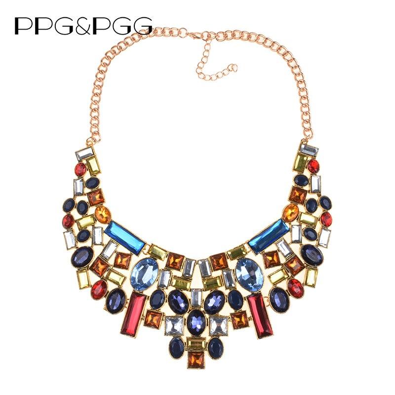 PPG & PGG 2017 Nuovo Arrivo Luxuru Multicolor Strass Geometrica Dichiarazione di Modo Della Collana Delle Donne Del Partito Dei Monili del Regalo All'ingrosso