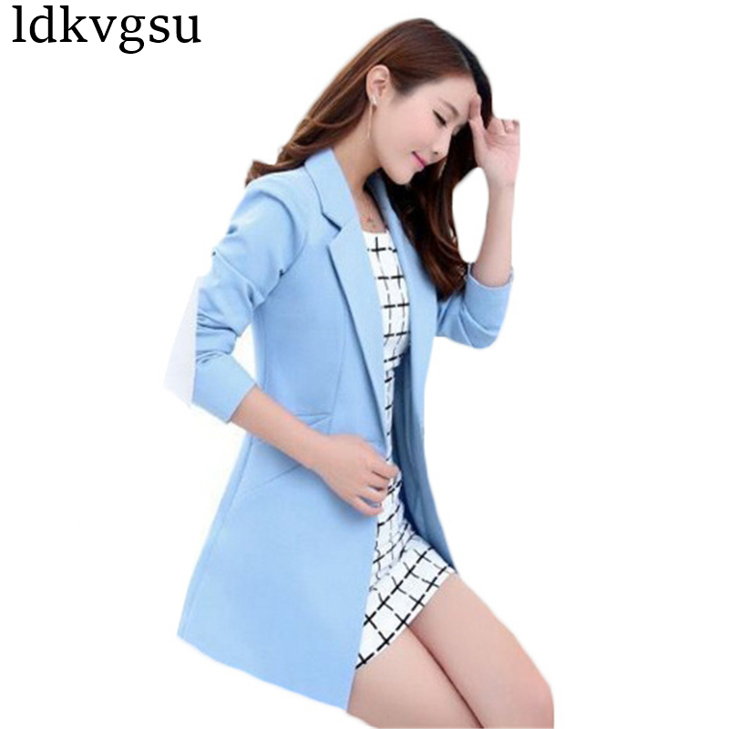 Fashion Long Blazers Suits Jackets for Women 2018 New Spring Summer Korean Slim Business Suit Large Size OL Blazer Coats A373