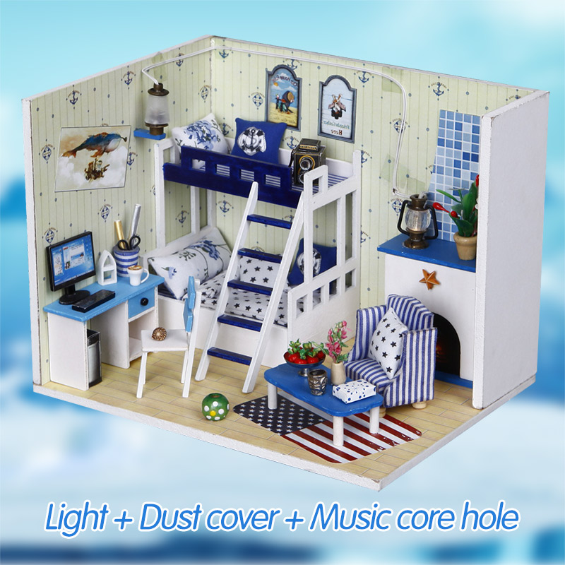 Doll House Furniture Diy Miniature Dust Cover 3d Wooden Miniaturas Dollhouse Large Deep Blue Dream Room Toys For Girl Gifts Architecture/diy House/mininatures
