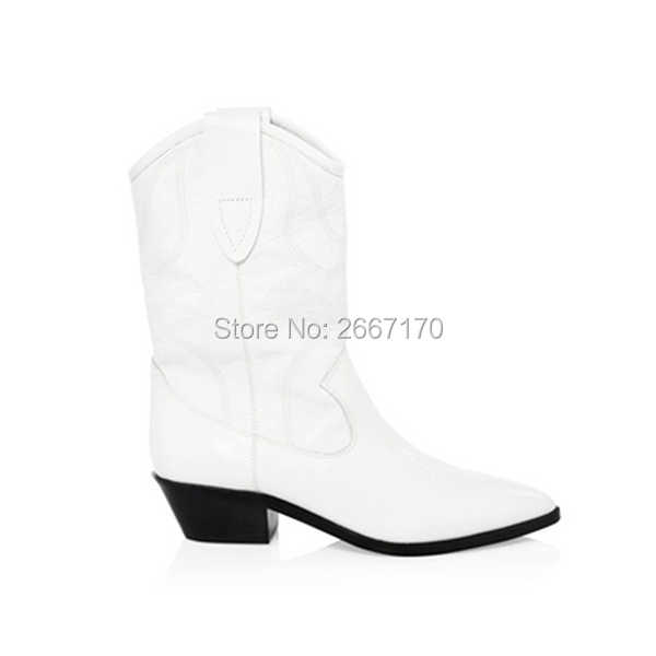 58f46eefd26 Chic Western Cowboy Boot Stacked Cuban Heel Bottes Femme Autumn Winter Slip  On Shoes Black White Leather Pointed Toe Boots Women