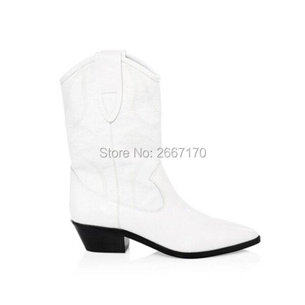 prix compétitif obtenir pas cher grande vente au rabais US $76.3 30% OFF|Chic Western Cowboy Boot Stacked Cuban Heel Bottes Femme  Autumn Winter Slip On Shoes Black White Leather Pointed Toe Boots Women-in  ...