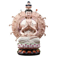 Thousands of Hands and Eyes Guanyin Furnishing Articles Lotus Avalokitesvara 18 inch White Porcelain Painting Figure of Buddha