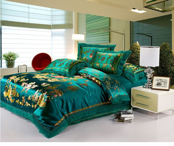 4pcs Embroidered Bedding Sets Queen Dragon Print Duvet