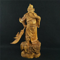 33cm marquis Guan Yu Boxwood Large carvings Ancient Chinese character home decoration ornaments Praying for safety business gift