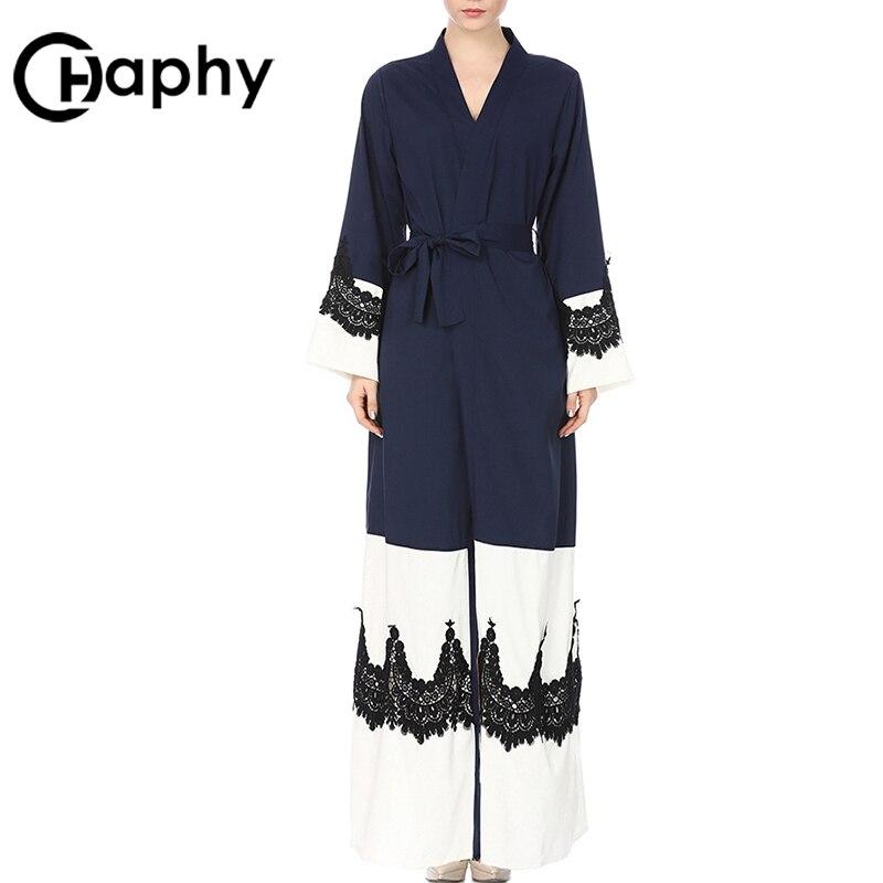 Robe musulmane élégante 2018 Robe musulmane à lacets taille Patchwork Robe en dentelle à manches longues Robe de prière musulmane femmes Cardigan Robe Maxi