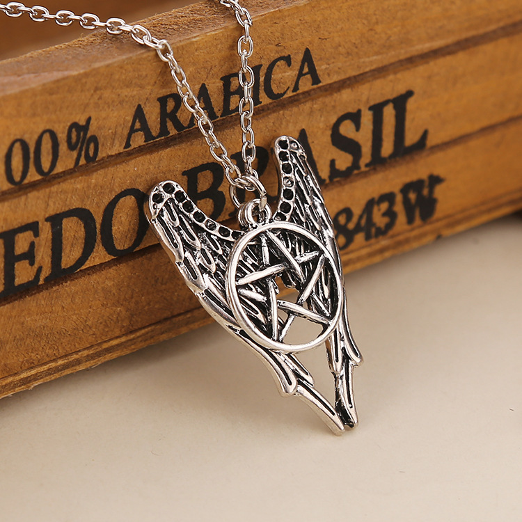 Free Shipping Supernatural Guardian Angel Cass Sam Dean Wings With Protect Symbols Pendant Necklace For Men Women Jewelry