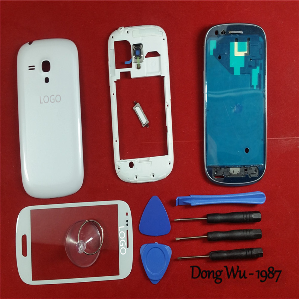 White Phone Case Replacement Full Housing Cover Case Screen Glass Lens Door Back Battery Case For