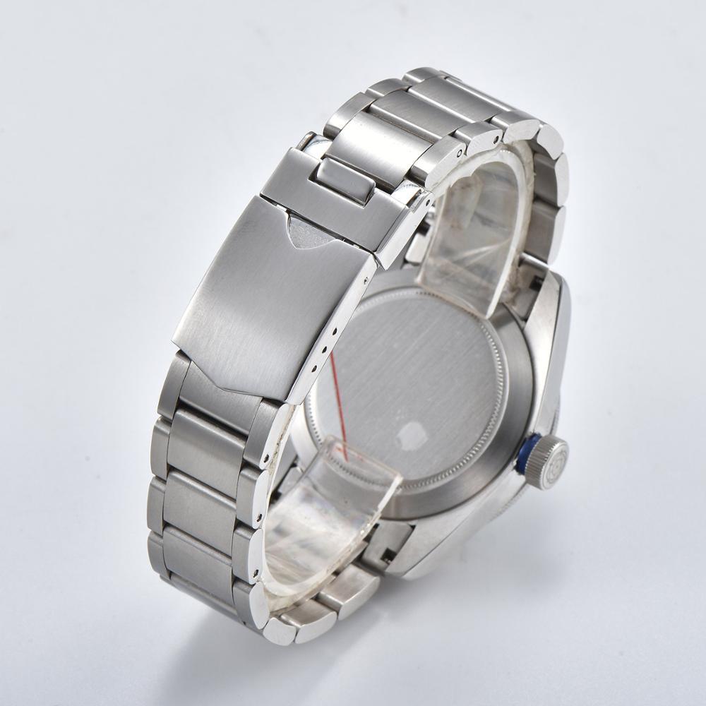 Orologio 41 millimetri diving movimento automatico Bay argento lunetta militare puntatore luminoso bracciale in acciaio vetro minerale quadrante Nero D6 - 6